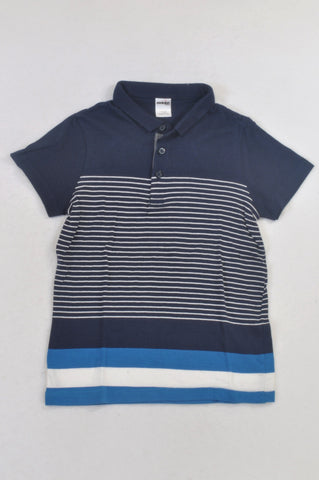 Revolution Navy & White Stripe Golf T-shirt Boys 7-8 years