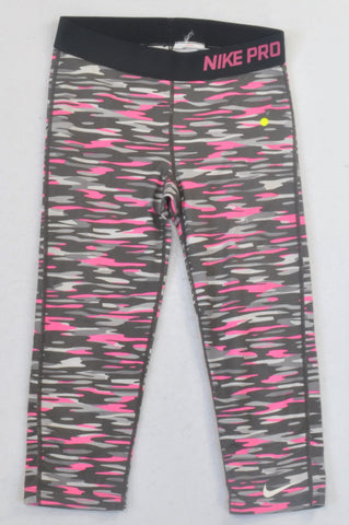 Nike Pink & Grey Camo Sports Leggings Girls 12-13 years