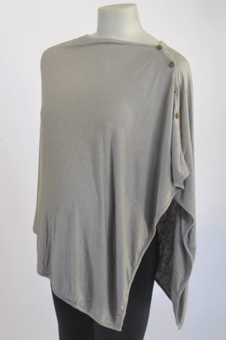 MEAMAMA Grey Poncho Style Shawl & Nursing Cover One Size Unisex N-B to 2 years
