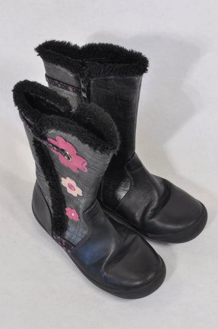 c4f83a0ccc3b Woolworths Size 12 Black Zipper Flower Boots Girls 6-7 years
