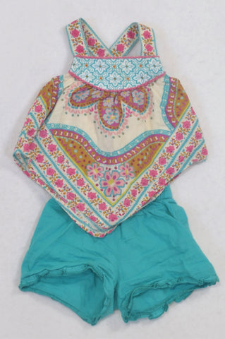 Monsoon Turquoise Floral Lightweight Outfit Girls 0-3 months