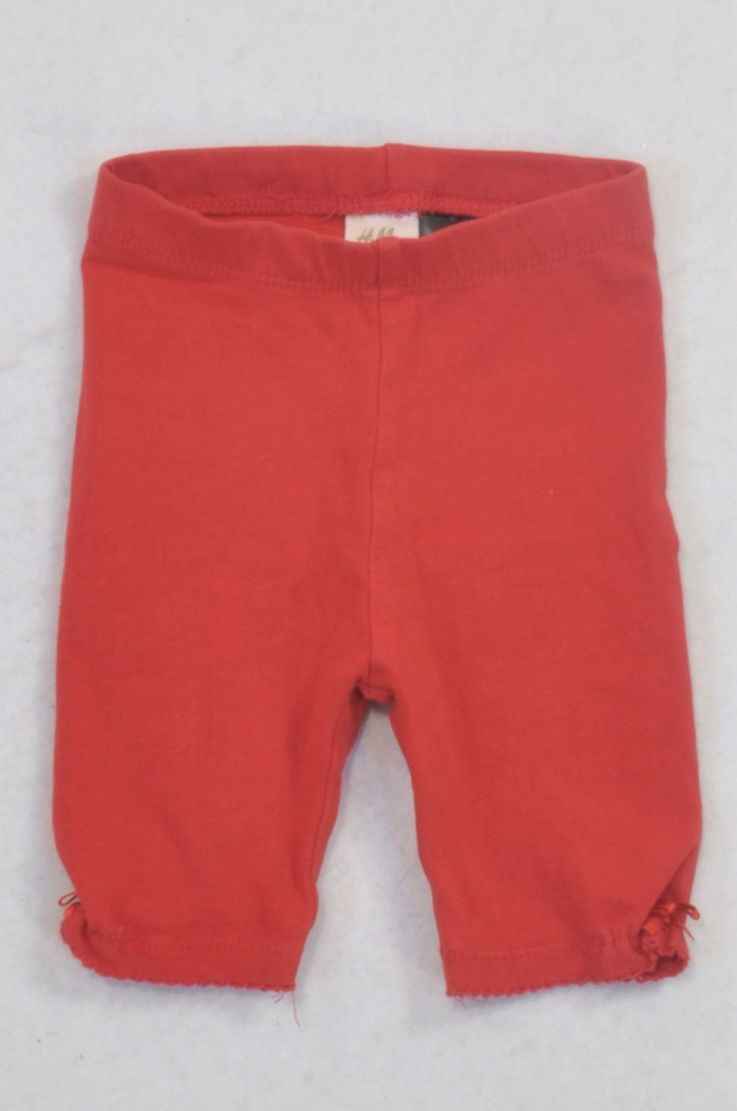 H&M Red Scallop Trim Leggings Girls 2-4 months