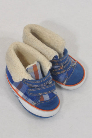 Miniclub Size 1 Blue Plaid Fleece Lined Shoes Boys 3-6 months