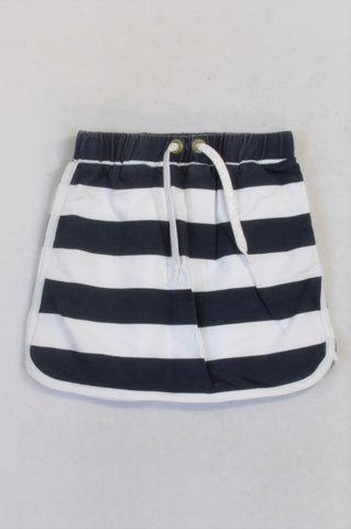 Woolworths Navy & White Panel Skirt Girls 8-9 years