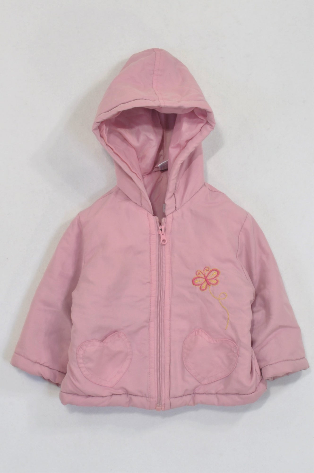 Ackermans Pink Padded Butterfly Jacket Girls 6-12 months