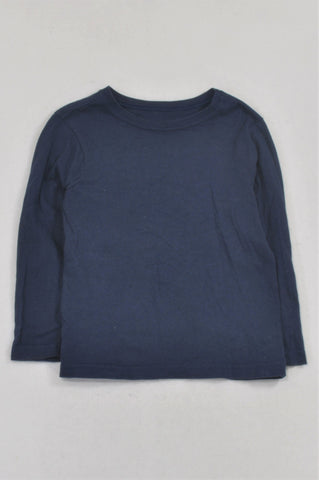 Woolworths Navy Basic Long Sleeved T-shirt Boys 4-5 years