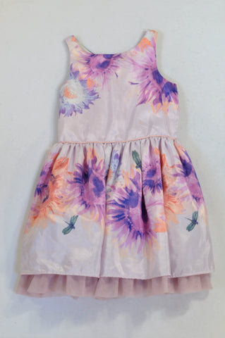 Woolworths Purple Floral Lined Dress Girls 8-9 years