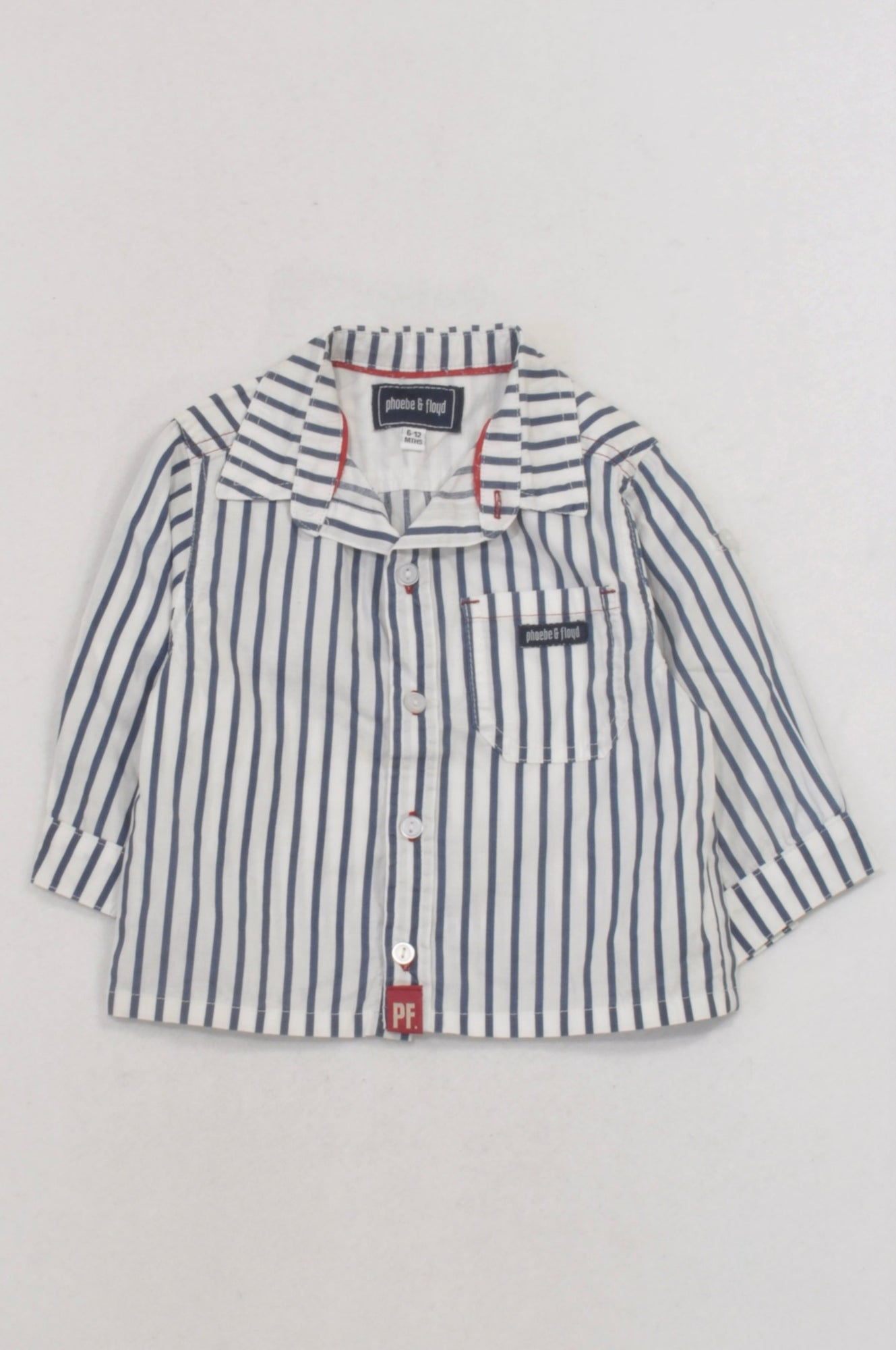 Phoebe & Floyd White & Blue Stripe Collared Shirt Boys 6-12 months