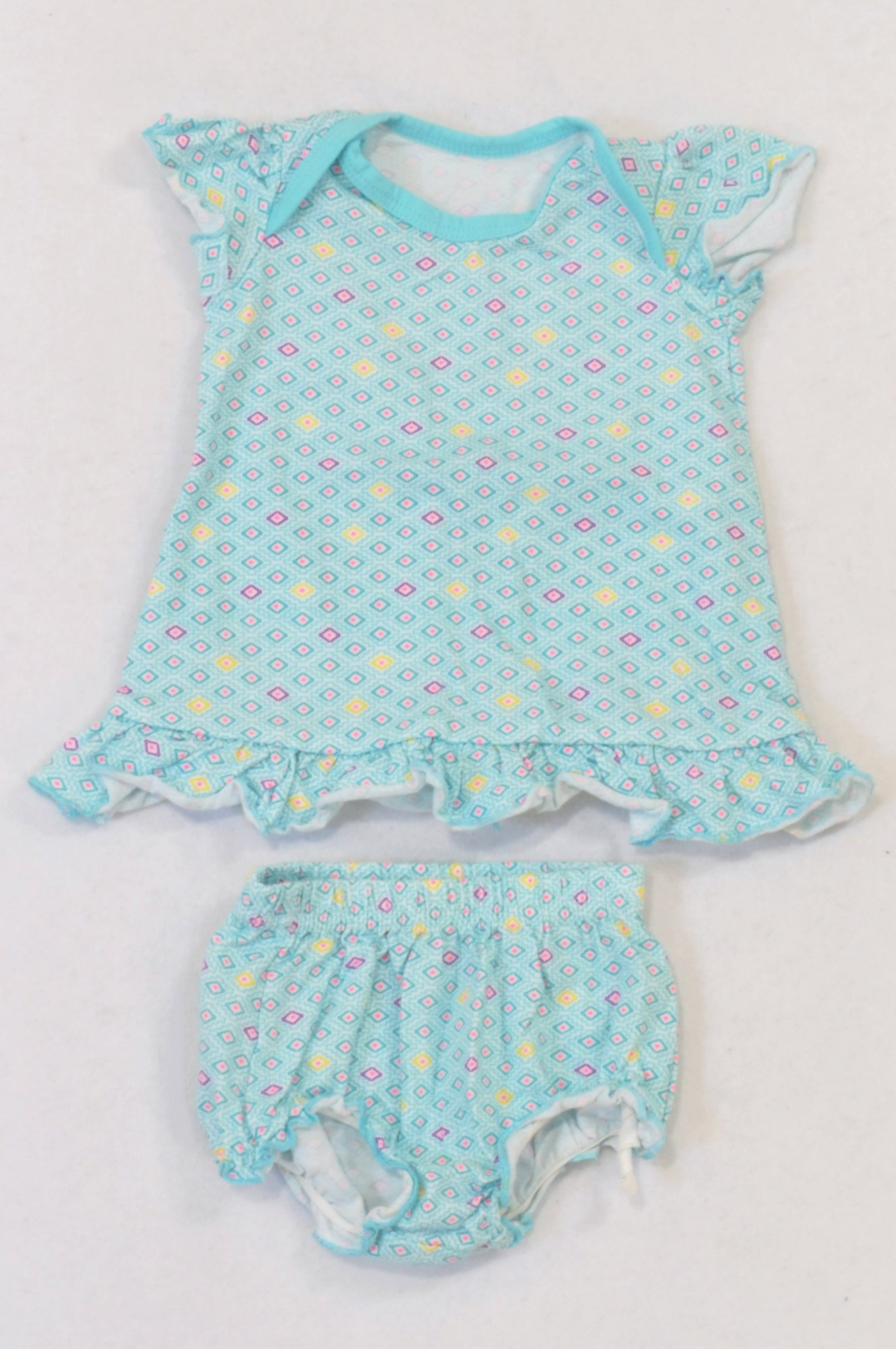 Woolworths Aqua Geometric Diamond Dress & Bloomers Outfit Girls 0-3 months