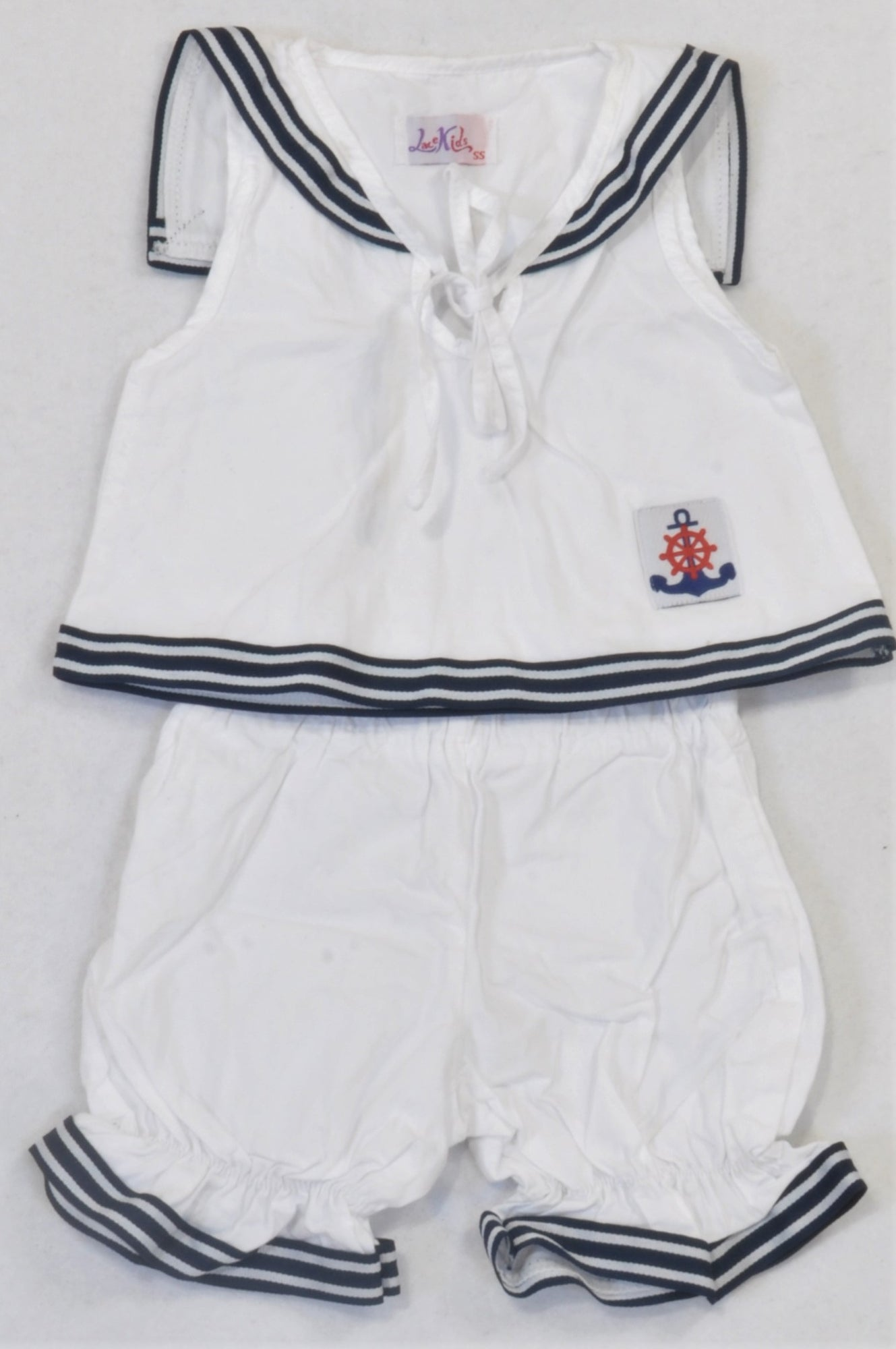 Lace Kids White & Navy Nautical Outfit Girls 3-6 months