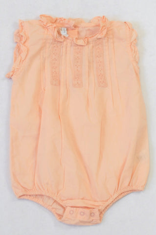Earthchild Peach Lace Inset Frill Detail Baby Grow Girls 3-6 months