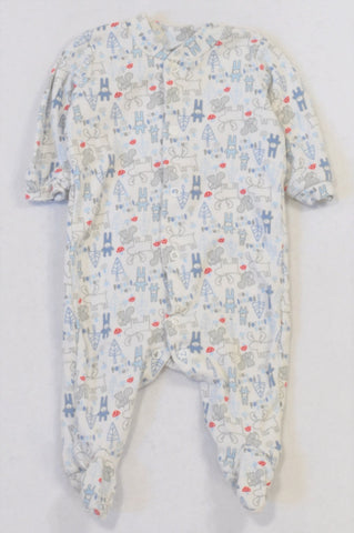 Woolworths Blue Animal Forest Friends Onesie Boys 0-3 months