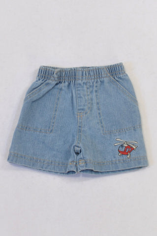 Mother's Choice Denim Helicopter Shorts Boys 0-3 months