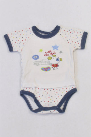 Woolworths Blue Star Wait For Me Baby Grow Boys 3-6 months