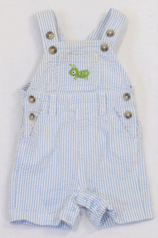 Crazy 8 Blue Striped Textured Grasshopper Dungarees Boys 3-6 months