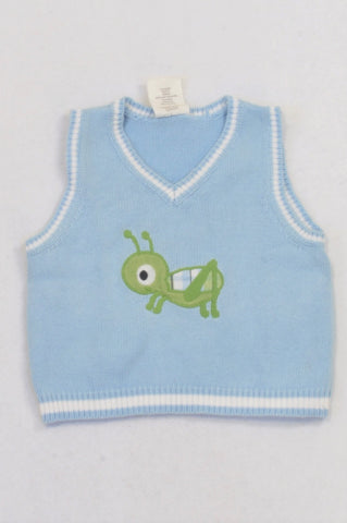 Crazy 8 Blue Knit Grasshopper Body Warmer Boys 3-6 months