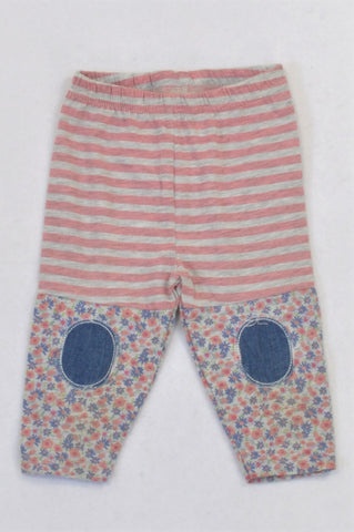 Jet Pink Striped Floral Detail Leggings Girls 6-12 months