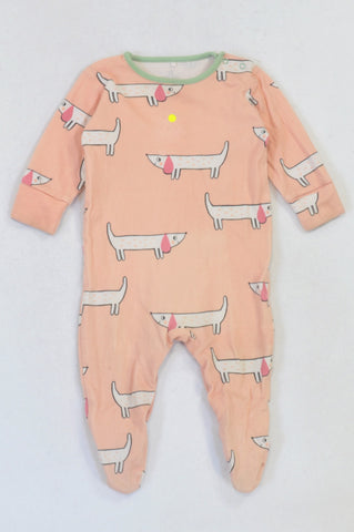 Next Soft Pink Daschund Onesie Girls 3-6 months