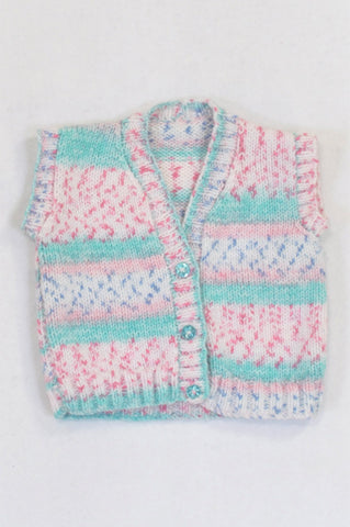 Handmade Pink & Green Short Sleeve Knit Cardigan Girls 3-6 months