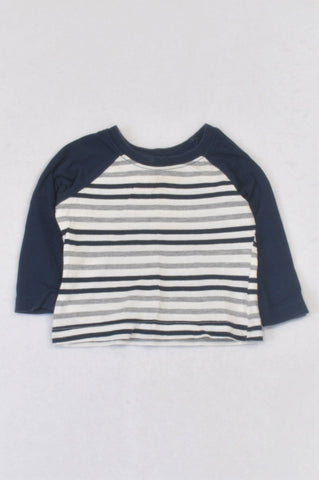 Woolworths White & Navy Stripe Baseball T-shirt Boys 3-6 months