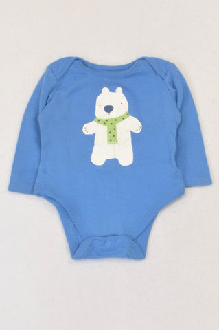 F&F Blue Polar Bear Baby Grow Boys 3-6 months