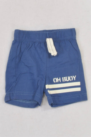 Woolworths Dusty Blue Oh Buoy Play Shorts Boys 0-3 months
