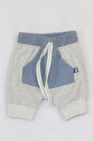 Ackermans Grey & Chambray Kangaroo Pocket Harem Pants Boys 0-3 months