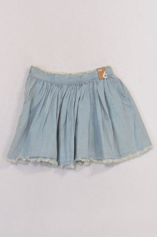 New Cotton On Distressed Edge Bleach Wash Skirt Girls 5-6 years