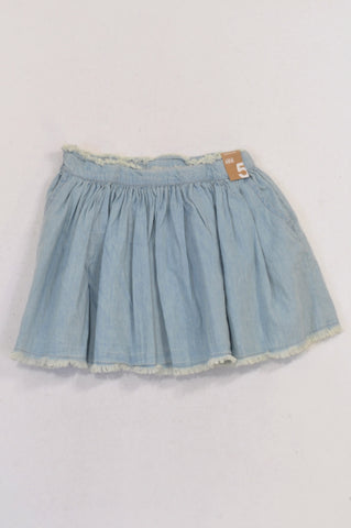 New Cotton On Distressed Edge Bleach Wash Skirt Girls 4-5 years