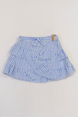 New Cotton On Vanilla/Blue Daisy Stripe Ruffle Skirt Girls 4-5 years
