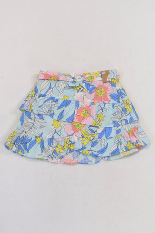 New Cotton On Blue Floral Island Ruffle Skirt Girls 3-4 years