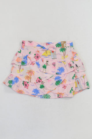 New Cotton On Pink Tropical Island Ruffle Skirt Girls 4-5 years