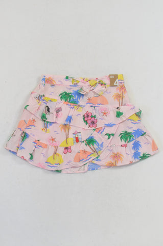 New Cotton On Pink Tropical Island Ruffle Skirt Girls 3-4 years