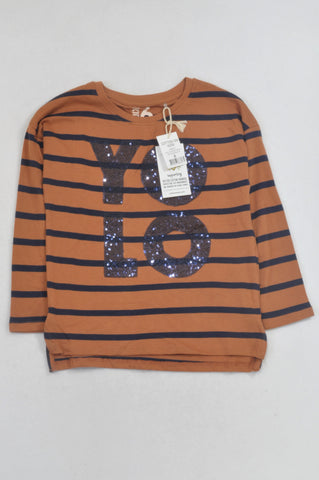 New Cotton On YOLO Navy Stripe Sequin T-shirt Girls 5-6 years