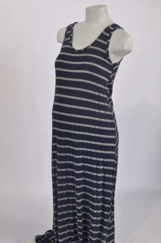 1cd6ec2e1e4 Cherrymelon Navy   Grey Stripe Maternity Maxi Dress Size XL