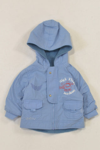 Woolworths Sky Blue Fleece Lined High Flyer Jacket Boys 3-6 months