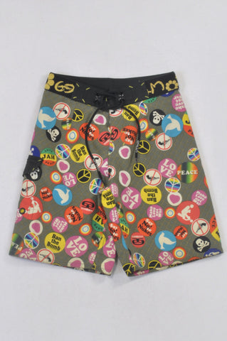 69 Slam Olive Peace Patch Swim Shorts Boys 4-6 years