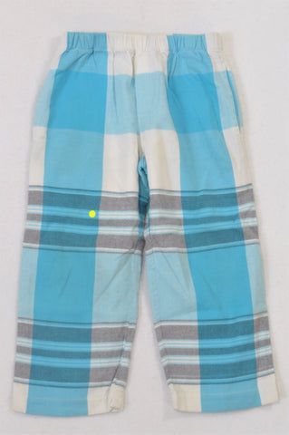 Kikoy Aqua & White Plaid Pyjama Pants Boys 3-4 years