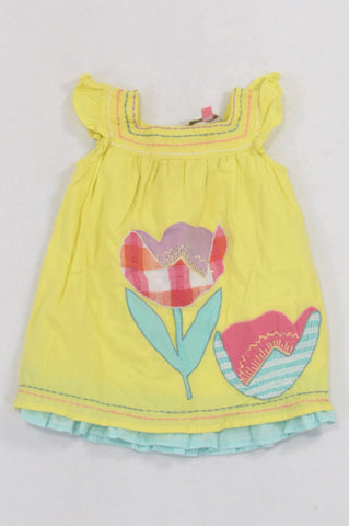 John Lewis Lime Patchwork Flower Embroidered Neckline Dress Girls 3-6 months