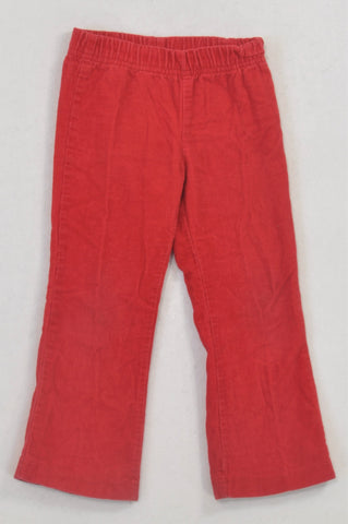 QTee Basic Red Corduroy Pants Girls 2-3 years