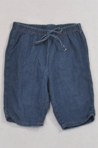 Pick 'n Pay Dark Chambray Tie Bermuda Shorts Girls 18-24 months