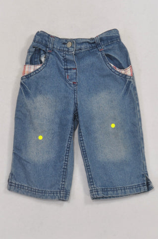Washed Plaid Pocket Capri Jeans Girls 2-3 years