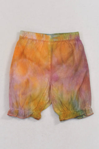 Ackermans Tie Dye Lightweight Frill Bermuda Shorts Girls 12-18 months