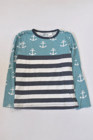 Country Road Aqua Anchor & Stripe T-shirt Boys 8-9 years