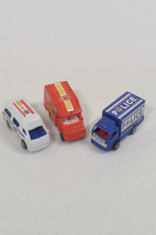 3 Pack Emergency Service Truck Toys  Boys 2-6 years