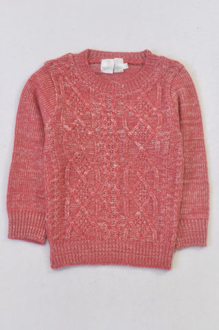 New See-Saw Coral & White Cable Knit Jersey Girls 3-4 years