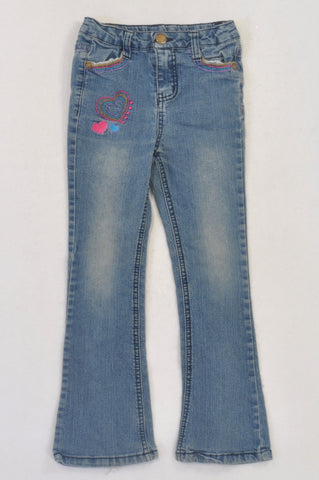 Edgars Stone Washed Heart Embroidered Jeans Girls 5-6 years