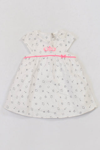 Orchestra White & Navy Lined Tea Party Dress Girls 3-6 months