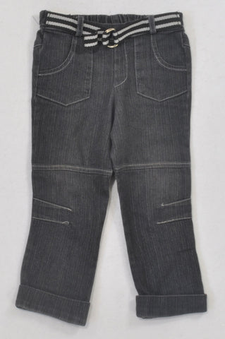 Little Rebels Black Cuffed & Belted Jeans Boys 18-24 months