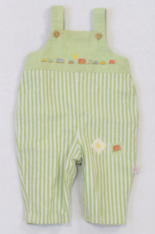 Mothercare Lime Striped Embroidered Cars Dungarees Boys 0-3 months